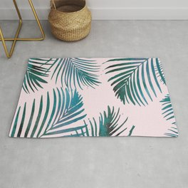 Green Palm Leaves on Light Pink Rug