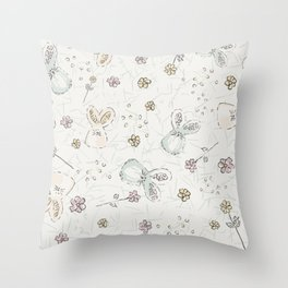 Pastel easter eggs and bunnys I Throw Pillow