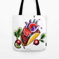 taco Tote Bags featuring Taco  by alxbngala