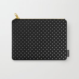 Mini Licorice Black with Faded White Polka Dots Carry-All Pouch