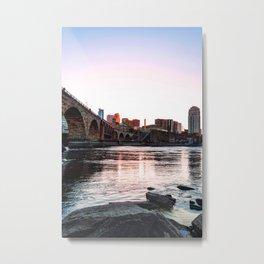 Minneapolis Skyline Sunset Colorful Metal Print