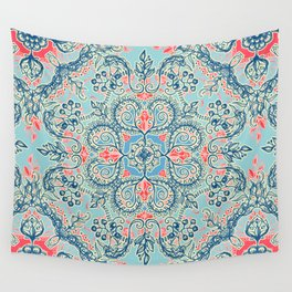 Gypsy Floral in Red & Blue Wall Tapestry