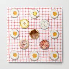Breakfast Coins Metal Print