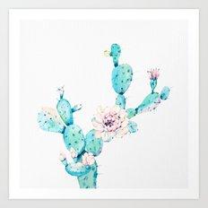 Desert Cactus Rose Art Print