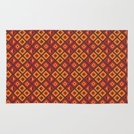 Orange Diamond Tribal Pattern Rug