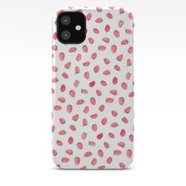 Strawberry Patch Watercolor Pattern iPhone Case