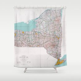 Map of the State of New York (1976) Shower Curtain