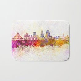 Bangalore skyline in watercolor background Bath Mat
