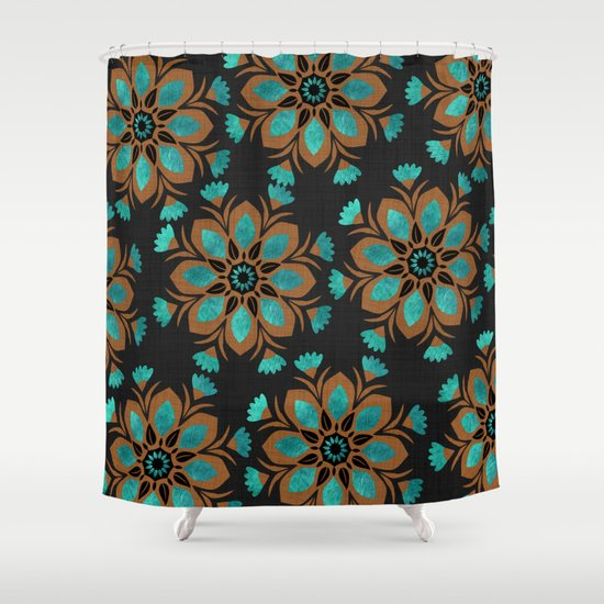 Teal Amp Brown Decorative Flowers Design Shower Curtain By
