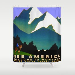 See America Montana - Retro Travel Poster Shower Curtain