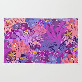 Block Party on the Reef - Clownfish Anemone Marine Sea Life Coral Rug