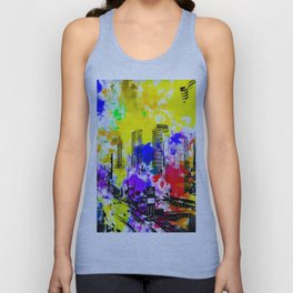 building of the hotel and casino at Las Vegas, USA with blue yellow red green purple painting abstra Unisex Tank Top