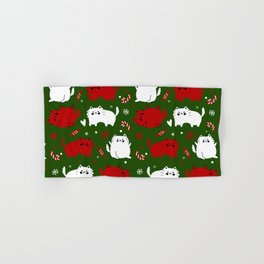 Christmas Cats and Candy Canes (Green) Hand & Bath Towel