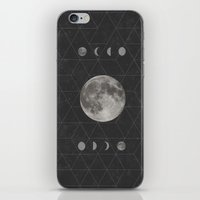 moon phase iPhone & iPod Skins featuring Geometric Moon Phase (black) by Moonbeam