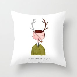 One real antler, one imagined Throw Pillow