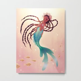 Mermaid With Long Braids Metal Print
