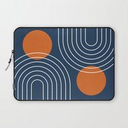 Mid Century Modern Geometric 83 in Navy Blue and Burnt Orange (Rainbow and Sun Abstraction) Laptop Sleeve