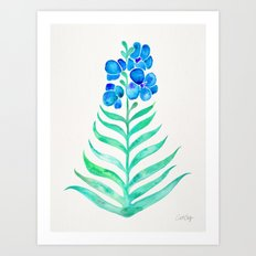 Blooming Orchid – Mint & Blue Palette Art Print