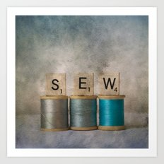 Sewing Blues Art Print