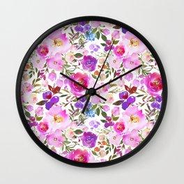 Elegant blush pink violet lavender watercolor summer floral Wall Clock