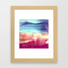 Tie-Dye Watercolor Blues, Greens, Pale Yellow, Dark Pinks Abstract Design Framed Art Print
