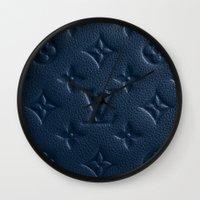 lv Wall Clocks featuring LV Navy by Beauti Asylum