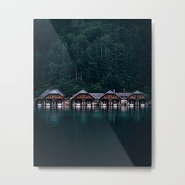 Königssee Bavaria Germany. Architecture boat houses on water Metal Print