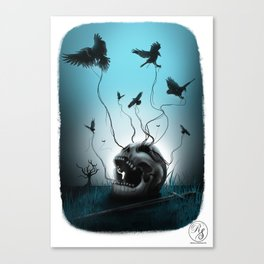 Skull and ravens Canvas Print