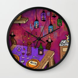 Autumn Table in Candlelight Wall Clock