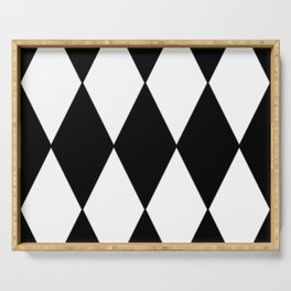 LARGE BLACK AND WHITE HARLEQUIN DIAMOND PATTERN Serving Tray