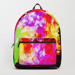 palm tree at the California beach with colorful painting abstract background Backpack