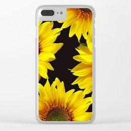 Large Sunflowers on a black background - #Society6 #buyart Clear iPhone Case