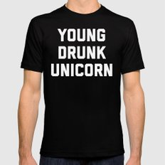 Young Drunk Unicorn Funny Quote Black Mens Fitted Tee LARGE
