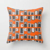 doors Throw Pillows featuring Doors by MJOillustration