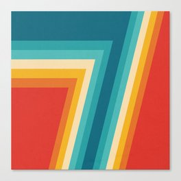 Colorful Retro Stripes  - 70s, 80s Abstract Design Canvas Print