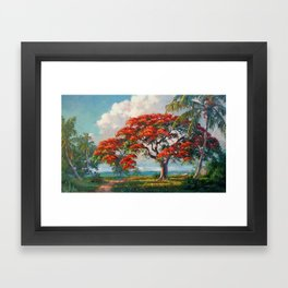 Royal Poinciana Tropical Florida Keys Landscape by A.E. Backus Framed Art Print