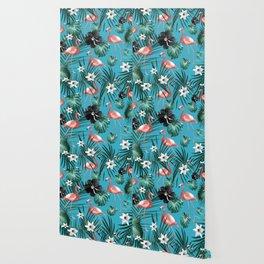 Tropical Flamingo Flower Jungle #2 #tropical #decor #art #society6 Wallpaper
