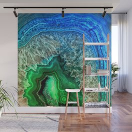 Turquoise Green Agate Mineral Gemstone Wall Mural