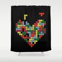 tetris Shower Curtains featuring Tetris Love by Alisa Galitsyna