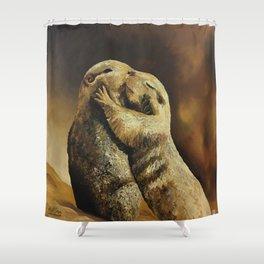 El beso de los perritos de la pradera Shower Curtain