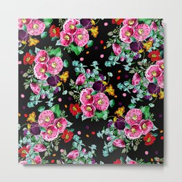 Modern vintage floral pink purple orange bouquet polka dots on black Metal Print