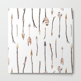 Boho Arrows with Feathers Metal Print