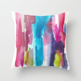 180812 Abstract Watercolour Expressionism 12 | Colorful Abstract | Modern Watercolor Art Throw Pillow