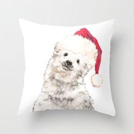 Christmas Baby Polar Bear Throw Pillow