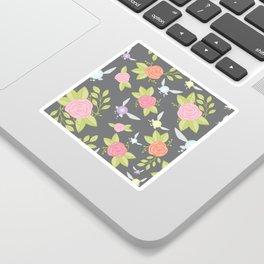 Garden of Fairies Pattern in Grey Sticker