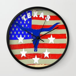 Western Patriotic Texas Longhorn Logo Pattern Art Wall Clock