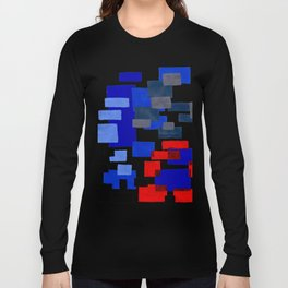 Modern Mid Century Abstract Geometric Cube Square Acrylic Painting Blue With Red Accents Long Sleeve T-shirt