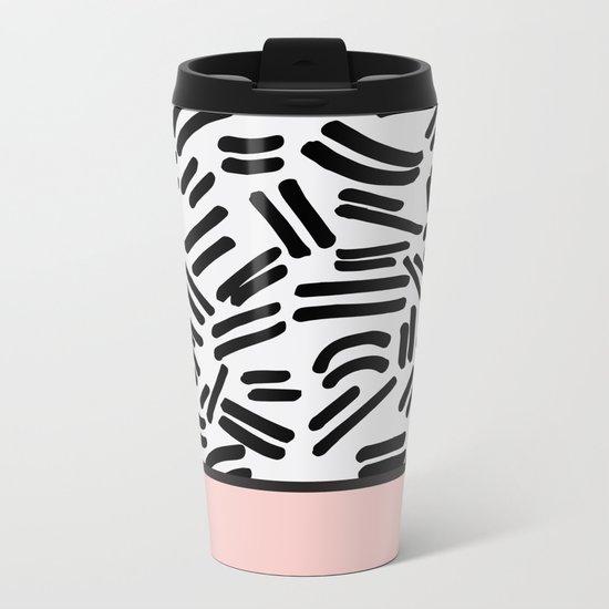Patterned & Pink Metal Travel Mug