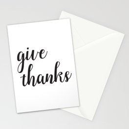 Give Thanks Black Lettering Design Stationery Cards