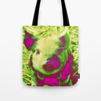 piglet Tote Bags featuring Diabolic PIGLET by MehrFarbeimLeben